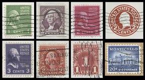 美国20世纪30年代邮票拼贴画 库存图片