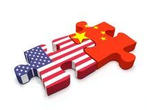 美国-中国难题 库存图片