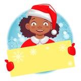 美国黑人的女孩拿着圣诞卡 皇族释放例证