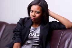 美国黑人的女孩画象 免版税库存图片