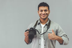 美国黑人的摄影师 免版税库存照片