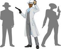 美国黑人的警察局长和人剪影 免版税库存图片