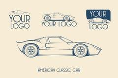 美国经典跑车,剪影 免版税图库摄影
