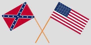 美国 南北 横渡的联合和盟旗 向量 图库摄影