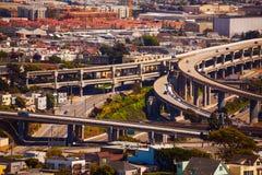 美国101和280的旧金山交叉点 图库摄影