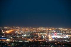 美国/墨西哥边界,帕索,TX/华雷斯Chichuahua在晚上 库存图片