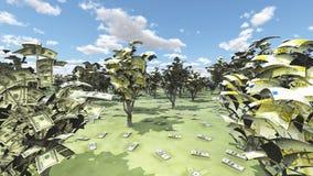 美国货币和欧洲树丛 库存照片