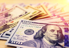 美国货币查出的四分之一白色 美元 图库摄影