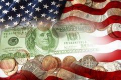 美国货币查出的四分之一白色 免版税库存照片