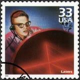 美国- 1999年:展示激光,系列庆祝世纪, 20世纪60年代 免版税库存图片