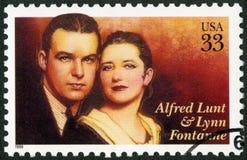 美国- 1999年:展示阿尔弗莱德伦特1892-1977和林恩方坦1887-1983,演员,表演艺术系列 免版税库存照片
