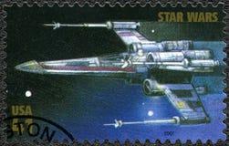 美国- 2007年:展示X翼Starfighter,电影星际大战30周年系列首放  库存照片