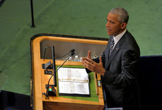 美国总统贝拉克・奥巴马举行讲话,联合国的联合国大会 库存图片