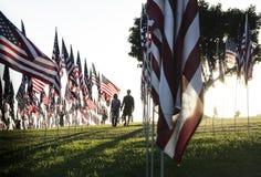 美国9月的11日旗子纪念碑在马利布 免版税图库摄影