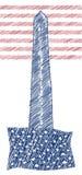 美国7月美国独立日四的葡萄酒设计  乱写在美国国旗颜色和Washigton纪念碑的艺术品 免版税库存图片