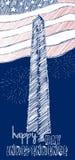 美国7月美国独立日四的葡萄酒设计  乱写在美国国旗颜色和Washigton纪念碑的艺术品 免版税库存照片