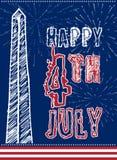 美国7月美国独立日四的葡萄酒设计  设计在与Washigton纪念碑的美国国旗颜色 免版税图库摄影