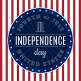 美国7月美国独立日四的葡萄酒设计  设计在传统美国国旗颜色和减速火箭的元素 免版税库存照片