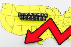 美国经济的衰落作为标志 免版税库存照片