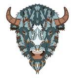 美国水牛头zentangle传统化了,导航,例证, 免版税库存图片