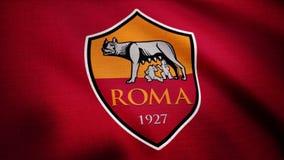 美国-纽约, 2018年8月12日:挥动的旗子特写镜头与A的 S 罗马橄榄球俱乐部商标,无缝的圈 挥动的标志 免版税库存图片