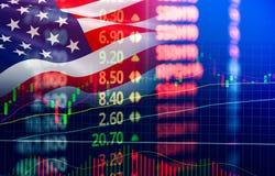 美国 美国股票市场交换/纽约股票市场分析变动图表外汇显示  库存图片