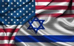 美国以色列旗子 图库摄影