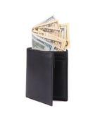 美国黑色美元皮革钱包 免版税图库摄影