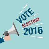 美国总统选举竞选 举行扩音机机智的手 免版税库存图片