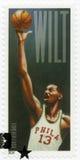 美国- 2014年:展示威尔敦诺曼底人威尔特・张伯伦1936-1999,蓝球运动员 免版税库存照片