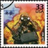 美国- 2000年:展示战士和契努克族直升机,科威特的伊拉克入侵, 1990年,致力海湾战争,系列庆祝世纪 库存图片