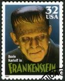 美国- 1997年:显示威廉亨利普拉特鲍里斯・卡洛夫画象1887-1969当科学怪人妖怪,系列经典电影妖怪 库存照片