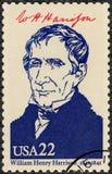 美国- 1986年:显示画象威廉・亨利・哈里森1773-1841,美国的第九位总统,美国的系列总统 库存照片