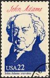美国- 1986年:显示画象约翰・亚当斯1735-1826,第二位总统,美国的系列总统 免版税库存图片