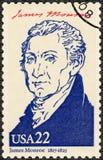 美国- 1986年:显示画象詹姆斯・门罗1758-1831,美国的第五位总统,美国的系列总统 免版税库存图片