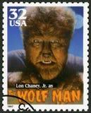 美国- 1997年:显示Creighton塔尔Lon钱尼画象1906-1973作为狼人,系列经典电影妖怪 免版税库存照片