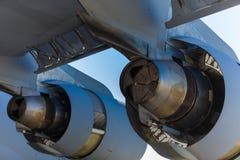 美国C-17 Globemaster喷气机引擎 库存照片