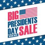 美国Day Big Sale总统与美国国旗的特价优待背景事务、促进和广告的 图库摄影