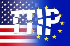 美国EU旗子, ttip打破的信件 免版税库存照片