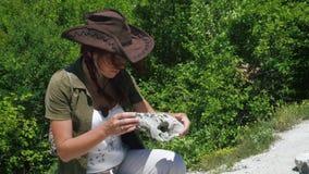 美女考古学家在古代人的解决附近检查一只羊或山羊的头骨 股票视频