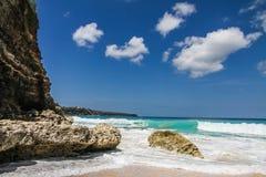美好和空的理想国海滩巴厘岛,印度尼西亚 免版税图库摄影