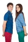 美好和年轻爱恋的夫妇,站立在彼此对面 图库摄影