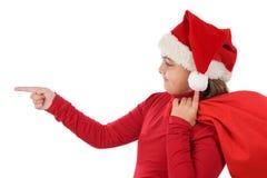 美好圣诞节女孩帽子指示 库存照片