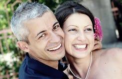 美好夫妇微笑 库存图片