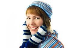 美好女孩帽子手套围巾佩带 免版税图库摄影