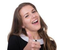 美好妇女画象微笑被隔绝在白色 免版税库存图片