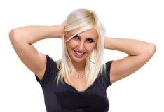 美好妇女画象微笑被隔绝在白色 免版税库存照片