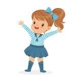 美好小女孩字符佩带水手打扮五颜六色的传染媒介例证 免版税库存图片