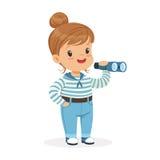 美好小女孩字符佩带水手打扮演奏玩具小望远镜五颜六色的传染媒介例证 库存图片