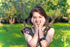 美好少妇微笑 免版税库存照片